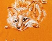 Girl's orange fox tee, Hand painted art , OOAK unique childrens top