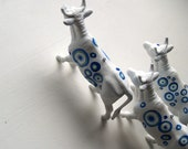Unique Blue Spotted Cow  Animal Ornament, Set of Three, Recycled Toy Decoration - EarlyMorningProjects