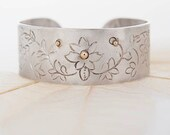 Women's Handcrafted Floral Cuff Bracelet - Oxidized Silver, Hand Chiseled, Hand Forged and Accented with 14K Gold/Yellow Beads