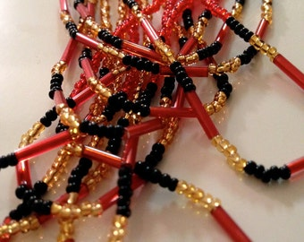 Bold Lady Black and Red South African Beaded Necklace