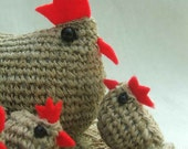 Set of 6 hemp crocheted chickens: Hen and five chicks with a crocheted doily