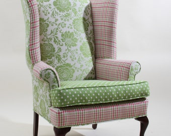 Vintage Refurbished Pink and Green Wingback Chair