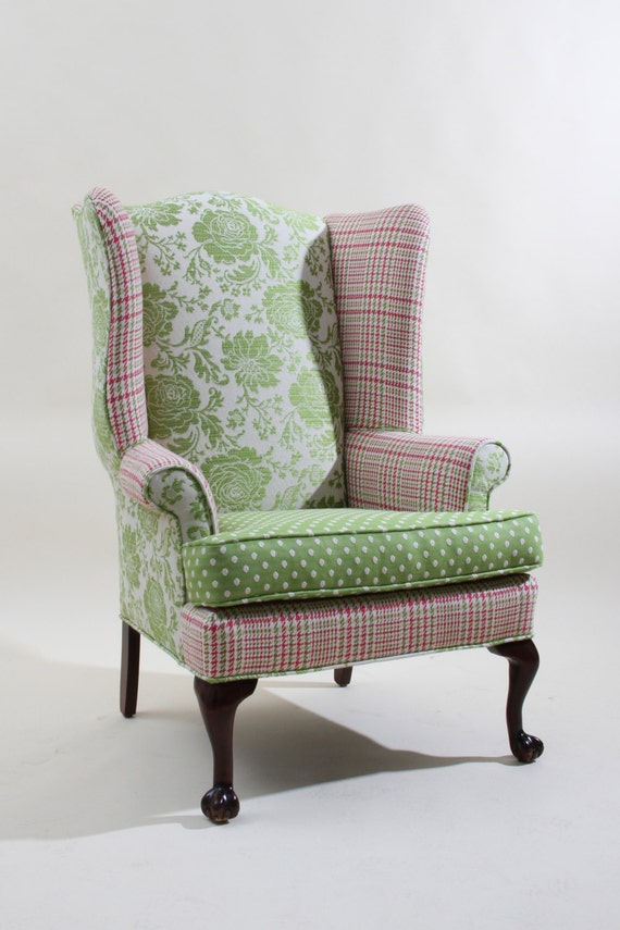 Lime green chair - Vintage Refurbished Pink And Green Wingback By Jessicaallyndesigns