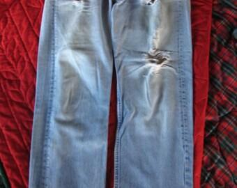 Grunge button front Levi jeans 35 inch waist