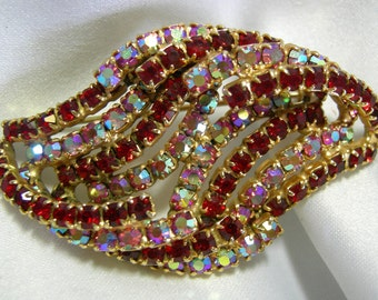 Signed KRAMER | Aurora Borealis and Multi Color Red Stone Gold Tone Brooch Pin | Vintage 1943- 1980