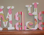 Painted Wood Wooden Letters - Room Decor - Personalized Name - Alphabet Letters - Nursery