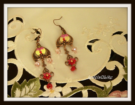 Copper tones and reds vintage style embroidered earrings