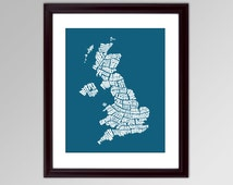 United Kingdom Word Map - A typographic word map of the United Kingdom