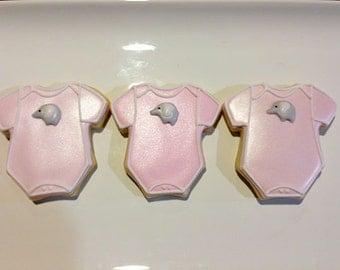 Pink elephant onesie cookies