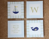 Nautical Nursery Painting, 4 Canvas Piece, Sailboat, Whale, Initial, custom colors and sizes available, Nursery Art, Original Painting