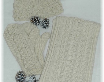 """Scarf, Hat & Mittens combi/set, hand knit with cables and bobbles in pure fine Merino """"Gambier Island"""""""
