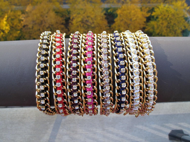 Chain & Rhinestone Bracelet - Dark Burgundy Red and Gold Woven