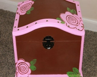 Girl's Wood Chest, Keepsake Box, Treasure Trunk, Memory and Card Box Hand Painted perfect for toys, keepsakes, storage and organization