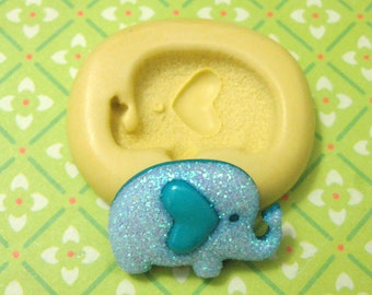 Cute Baby Elephant Flexible Silicone Polymer Clay Soap Chocolate Fondant Push Mold - Food Grade 23x16mm