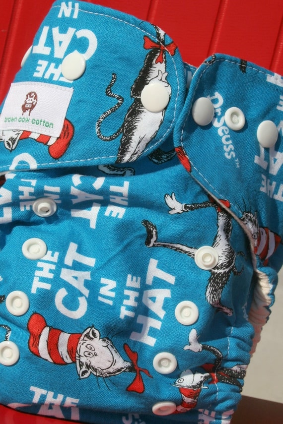 Organic Cotton Cat in the Hat One Size Cloth Diaper Cover