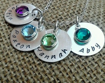 Mom Necklace, 4-Charm Kids Name Necklace, Sterling Silver Necklace, Family Necklace - Stamped Evermore