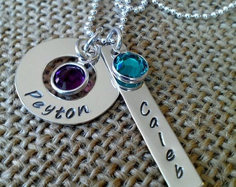 Mom Necklace, Grandma Necklace, Hand Stamped Kids Names Necklace, Sterling Silver