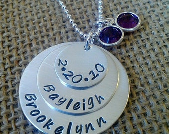 Hand Stamped Family Necklace - Custom Silver Kids Names Necklace - Stamped Evermore