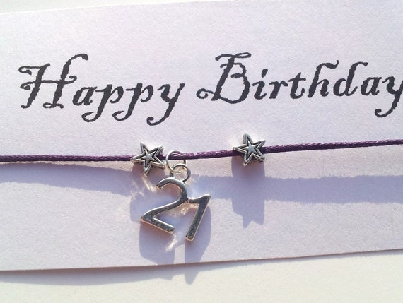 Happy Birthday custom age bracelet, 16, 21, 30, 40, and 50 on waxed cotton cord