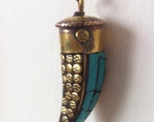 Turquoise horn necklace for Rachel