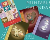 DIY Printable Package featuring adorable puppy characters - PDF files - download and print - with 2013 calendar pages