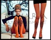 Paisley design tights (F101-OB)