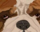 Title: Eyes of Love (english bull dog) by artist print 13 x 19 dog breed print