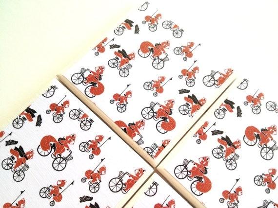 Sale Red Panda Coaster, Ceramic Tile, Bicycle Riding, Jennifer Denty Illustration, Table Drink Set