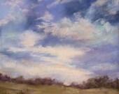 Evening Sky, Fine Art, Pastel Painting, Original Art,12x15