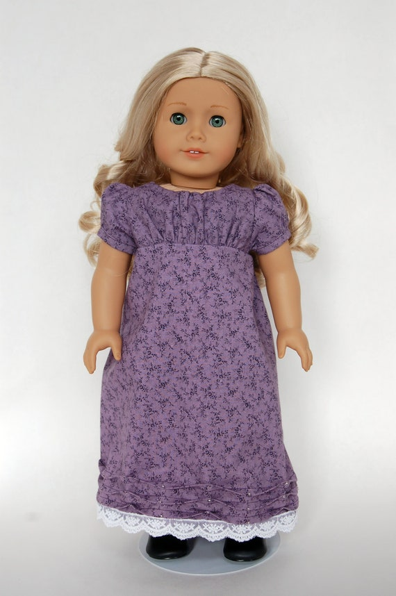Purple Regency Era 18 inch American Girl Doll Dress Caroline