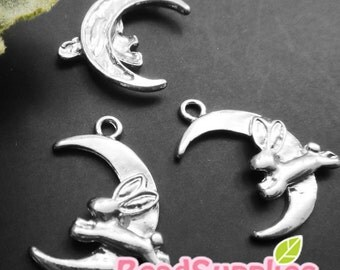 CH-ME-09225 -  Nickel Free, silver plated,Moon and bunny charms, 4 pcs