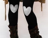 White heart hand PAINTED leggings in black