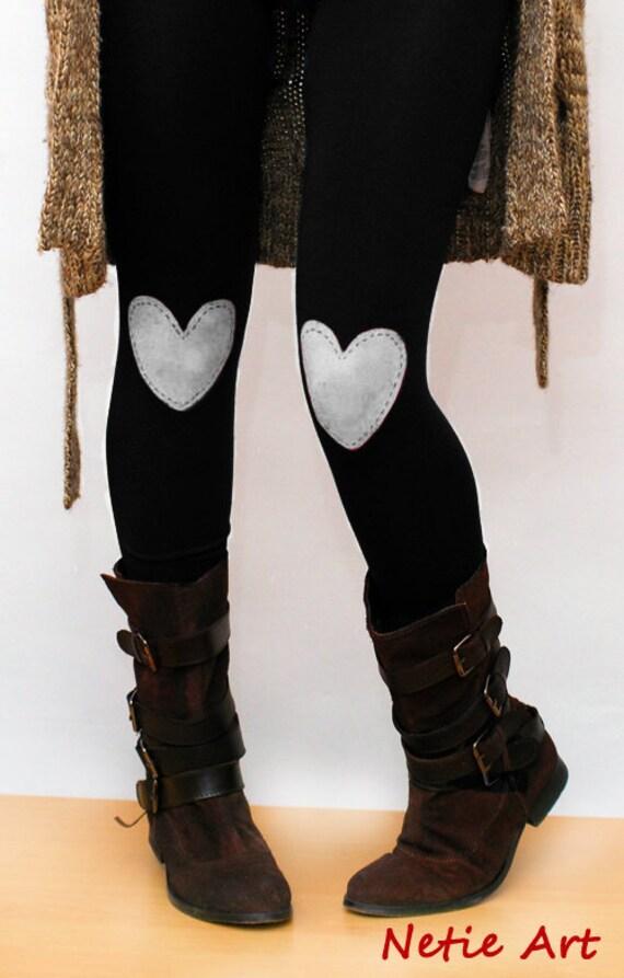 White heart hand PAINTED leggings in black