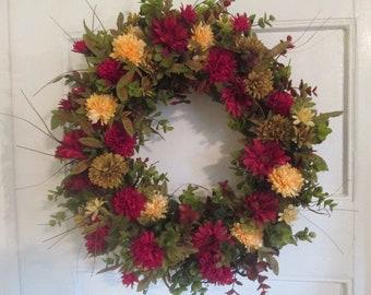 Autumn Wreath Fall Wreath Chrysanthemum Wreath, Red Yellow Green Mum Wreath, Fall Front Door Wreath