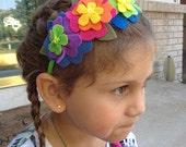Pretty spring flowers headband, felt