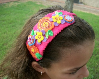 Stitched flowers headband