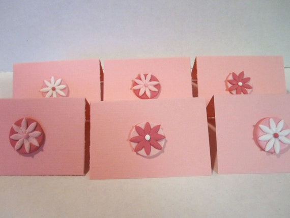 Pink Flower Mini Note Cards Set of 12 Birthday Cards Thank You Cards Wedding Shower