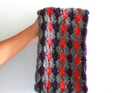 Crocheted Neck Warmer - Crochet Cowl in Grey Pink and Purple - Knit Snood