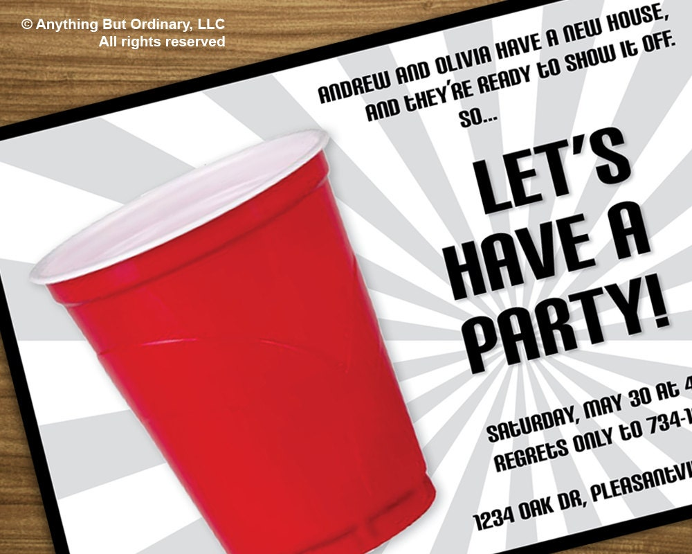 DIY Red Cup House Warming Party Invitation printable digital – Funny Housewarming Party Invitations