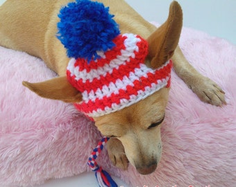 Patriotic Dog Hat - Pet Hat - Dog Hat - Dog Beanie - Photo Prop - Hand Crochet - Made To Order - Independence
