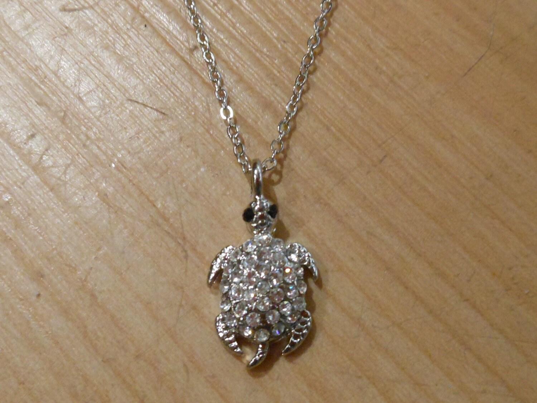 turtle necklace tiny silver sea turtle necklace rhinestone