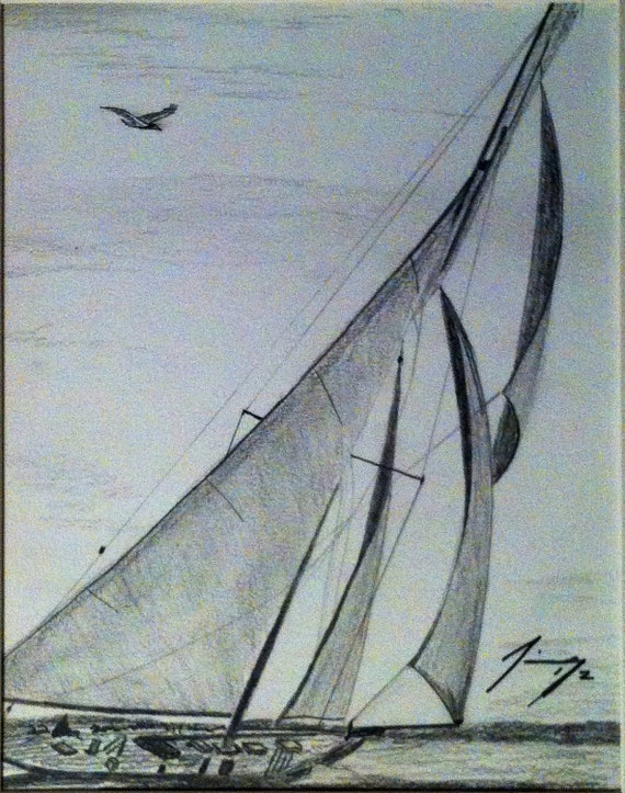Lost Sailboat Original Pencil Drawing