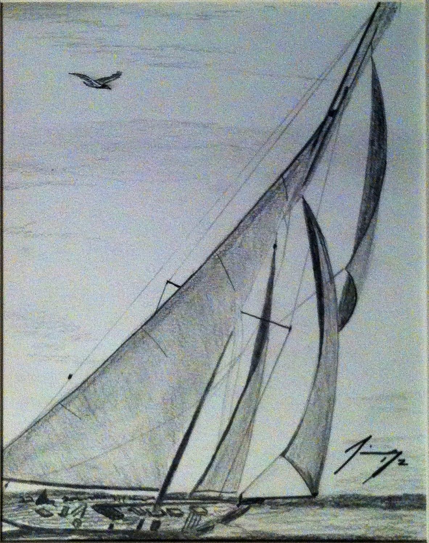 Lost Sailboat Original Pencil Drawing