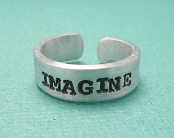 John Lennon Inspired - Imagine -  A Hand Stamped Aluminum Ring