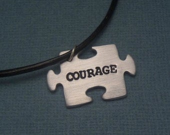 Courage - A Hand Stamped Aluminum Puzzle Piece Necklace