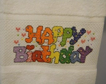 Happy Birthday Hand Towel - Guest Towel - Kitchen Towel - Finished Cross Stitch