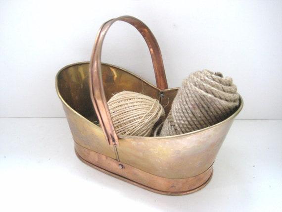 Vintage Copper Basket - Patina - Boho Cottage Chic