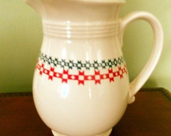 June Dairy Month Celebration Commemorative Collection Pitcher, Country Sampler Pattern Dairy or Farm House Pitcher