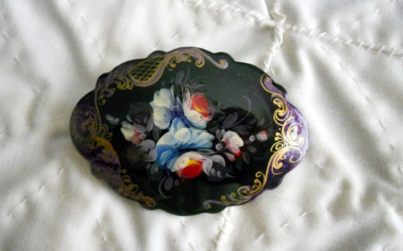 Vintage Russian Lacquer Ware Hand Painted Brooch with Violet Accents and Floral Designs, Russian Folk Art