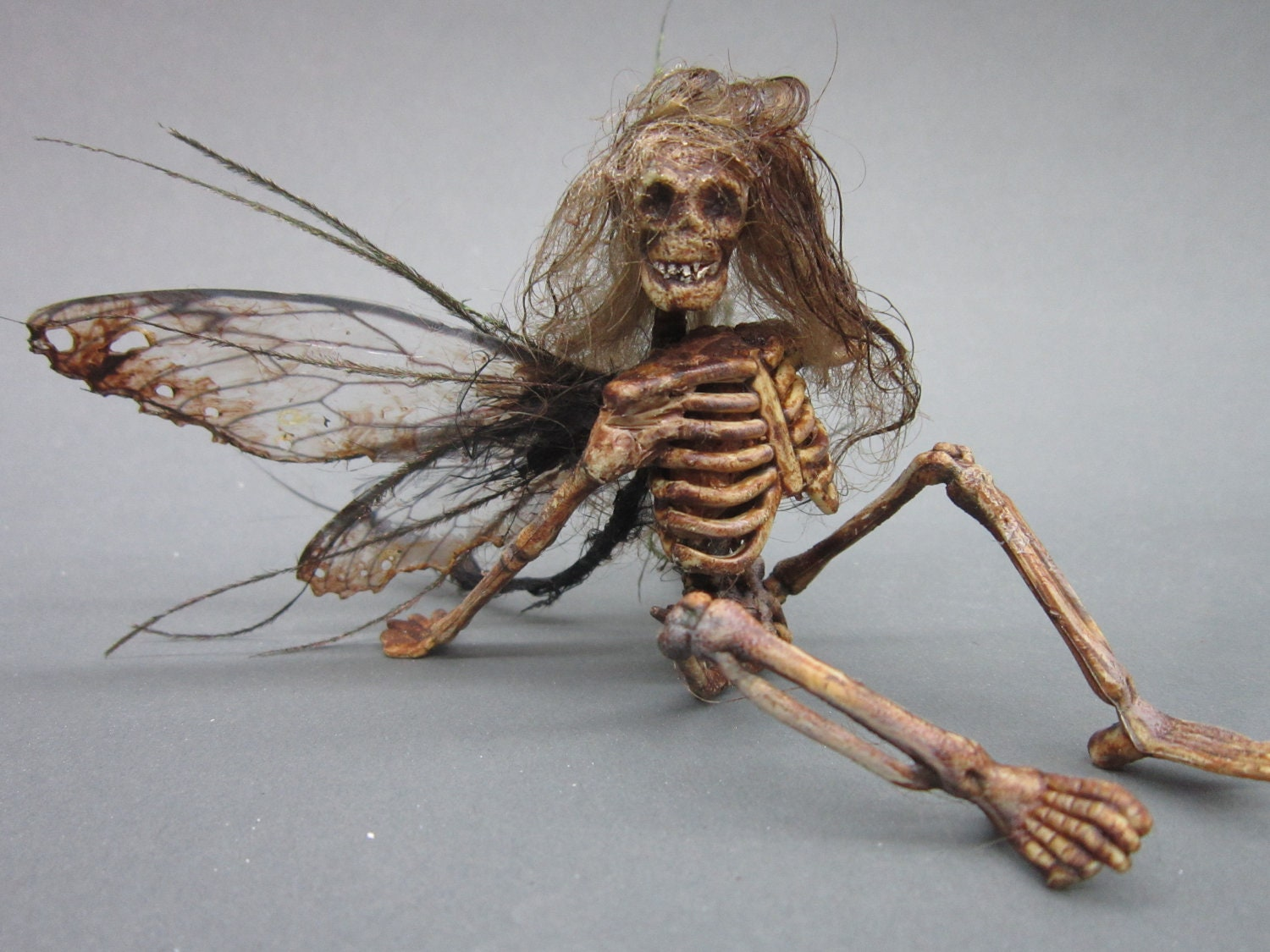Ooak dead fairy goth art doll miniature by footstepsinthewind
